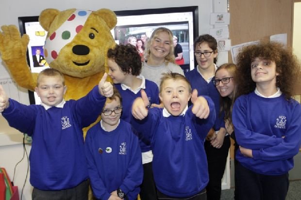 Children in Need: Pudsey Bear visits pupils at Horsham school - West Sussex County Times
