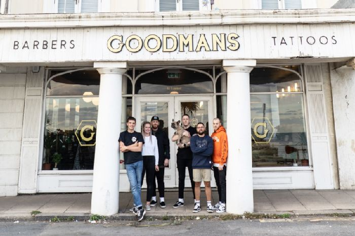 47eea8ceb Party to mark opening of Hastings barbershop and tattoo parlour. Pictured  are Alfie, Yas, Ben, Connor, Luke, Chris outside the new