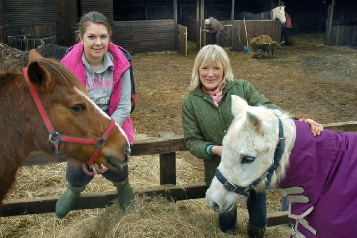 c737e9ce4f57c0 Carole Fielding with volunteer Jade Townend and a couple of resident ponies  at Pablo s Horse Sanctuary