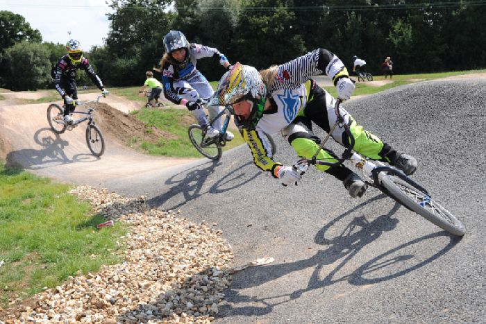 Photograph of BMX riders on the track