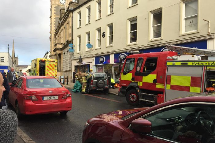 06e49e34af8ae Picture of scene after vehicle crashed into shop in Enniskillen. Taken by  Meadhbh Monahan of