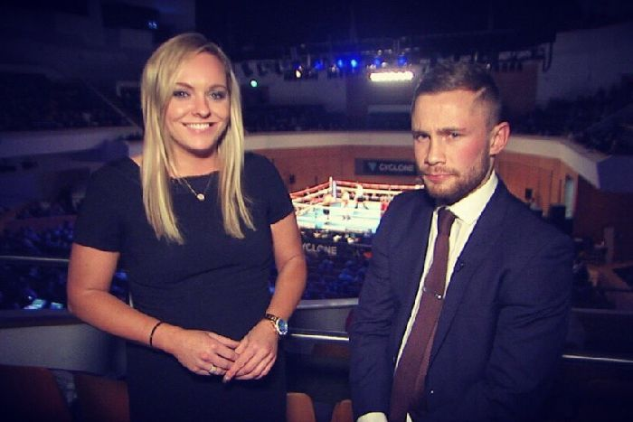 7172ec15e32 Ruth Gorman Interviewing Carl Frampton at a boxing show at the Waterfront  Hall