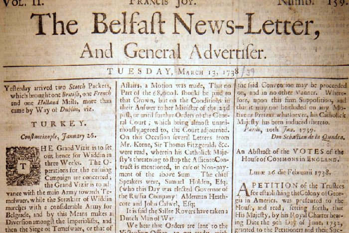 74804cf3 The Belfast News Letter of March 13 1738 (which is March 24 1739 in the