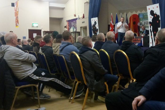 Jamie Bryson speaks at the meeting at Carleton Street Orange Hall in Portadown to protest against Boris Johnson's Brexit deal, on Wednesday November 20 2019