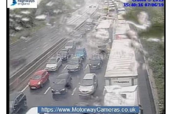 Delays of almost an hour on M1 near Northampton following accident