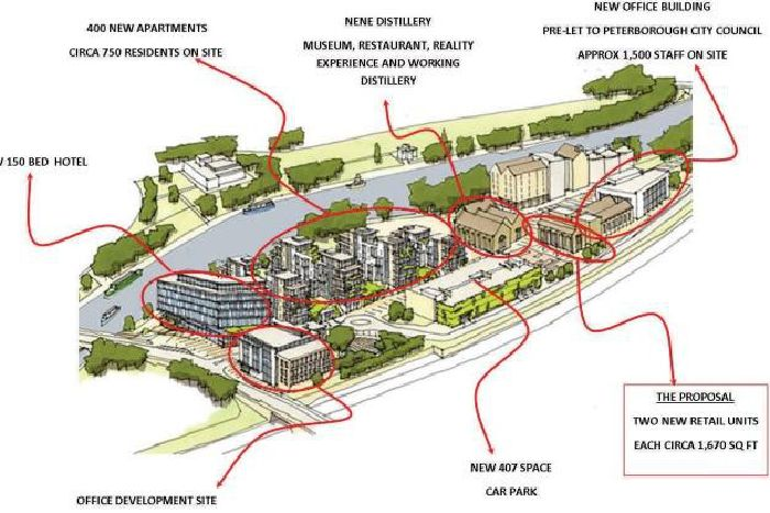 ebeb876fa This map shows the planned layout for the 120 million Fletton Quays  development.