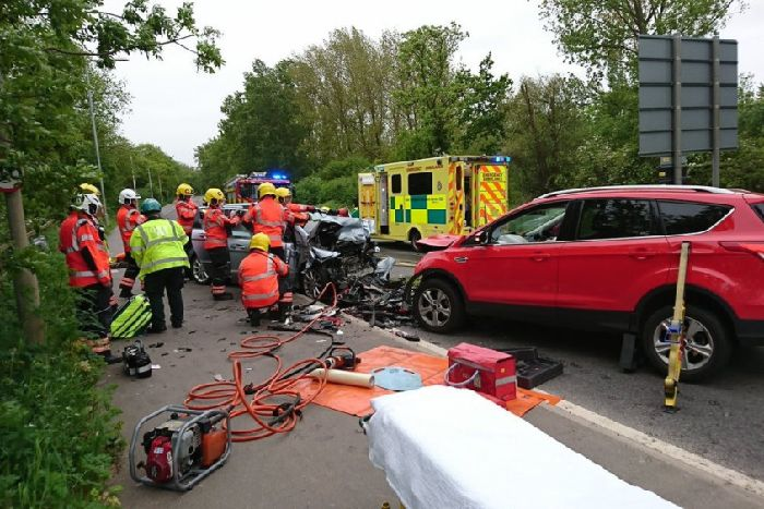 Drivers Escaped With Minor Injuries From The Wreckage Of A Crash Which Left Main Road In Peterborough Shut For Several Hours