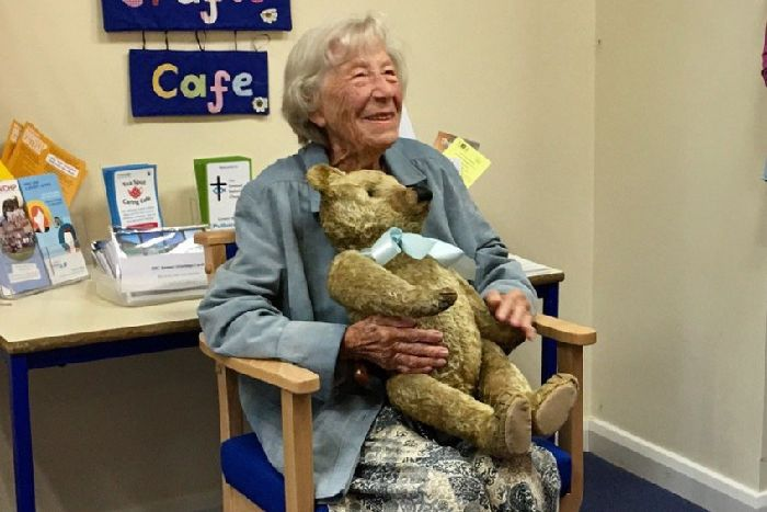 Woman As 100th Birthday Gift Jen Jennings From Pulborough With Her 96 Year Old Teddy Bear Which Has Been