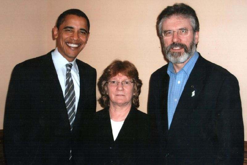 Rita O'Hare pictured with Barack Obama and Gerry Adams