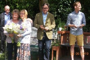 Jeremy Quin MP with Rudgwick Pre-School founders at the 50th anniversary party SUS-190723-160606001