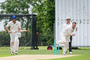 Matt Ewer bowling for Rugby on Saturday