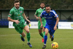 Saul Williams in action against Bromsgrove Sporting - pic: Chris White