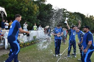 Bourne celebrate their Burghley Park sixes success. Photo: James Biggs.