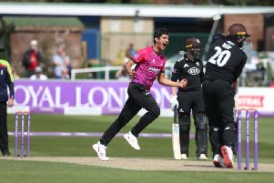 Mir Hamza has Jason Roy caught by George Garton / Picture by Andy Hasson for Sussex Cricket