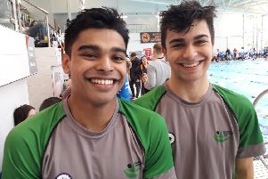 Berkhamsted SC's Ish Rahim and Zac Patel at the Regional Winter Championships in Basildon.