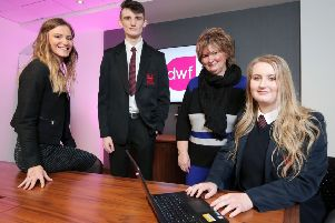 Pictured at the first 5 Star Futures event at DWF in Belfast are (from left):  Alice Wright, DWF Law, Cameron Muir, Ballymena Academy, Gail Taylor, DWF's Diversity and Community Engagement Manager, Niamh Watt, Ballymena Academy.
