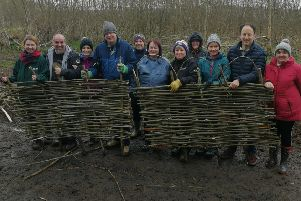 Alison Diver (MEA) with volunteers at Ecos Nature Park