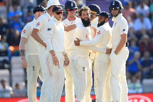 England's Moeen Ali celebrates the wicket of India's Ajinkya Rahane during day four of the fourth Test at the Ageas Bowl. Picture: PA Images