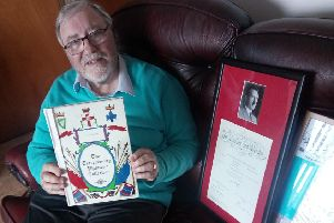 Robert McAuley with some of his collector's items