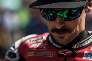 Eugene Laverty rode the Team Go Eleven Ducati V4 R for the first time at Jerez in Spain.