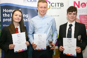 CITB NI recognised those who got top accolades in GCSE Construction and the Built Environment in 2018 at the Annual Chartered Institute of Building Awards held at Nutts Corner Training Centre.'First place was awarded Craig Francey, Dunclug College, Ballymena, second place, Rebecca Gilbert Rainey Endowed School, Magherafelt and third place Nathan Nelson, Ballymena Academy.