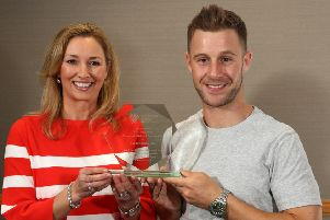Jonathan Rea MBE accepts his Hall of Fame induction from Claire McCollum. 26 January 18, Mandatory Credit �Press Eye/Darren Kidd