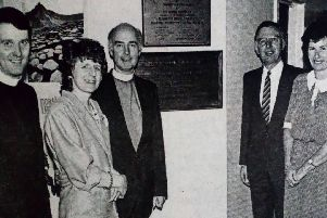 Pictured unveiling the plaque at Kells and Connor Primary School's new extension are Rev. Stafford Carson, Mrs Preston, Rev. Preston, Brian Mawhinney , Principal Miss C. Stein and Rev. Poots. 1989.