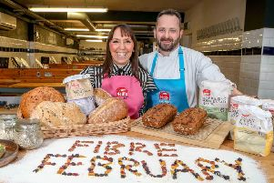 Keavy O'Mahony-Truesdale from Neill's Flour and Ian Hunter, Head Chef and Proprietor at Belfast Cookery School, are encouraging families across Northern Ireland to look at incorporating more fibre into their diets, as part of 'Fibre February', a campaign to raise awareness of the benefits of fibre in the diet.