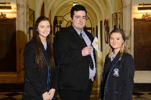 Orla Kane, Brendan McLaughlin and Anastasija Chelbuskina of St Louis Grammar School, Ballymena, who recently put their debating skills to good use when they represented Cyprus at this year's Mock Council of the European Union.