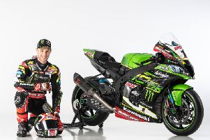 World Superbike champion Jonathan Rea with his new 2019 Kawasaki ZX-10RR.
