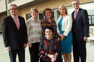 From left, Conrad Murphy, acting deputy director Housing Policy and Performance Division; Denise Magill, director of Support Services Triangle Housing Association; Hazel Bell, chair of Choice Housing Ireland; Anne Sweeney, assistant director, Supporting People; Dr Tony Stevens, chief executive of Northern Health and Social Care Trust and Shirley Neill, tenant at Greenisland House.