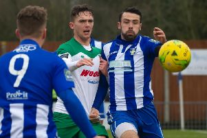 Dan Smith in action in what has turned out to be his final Bognor appearance - at Bishop's Stortford / Picture by Tommy McMillan