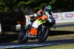 Eugene Laverty on the Team Go Eleven Ducati Panigale V4 at Phillip Island.