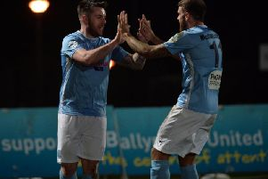 United's Cathair Friel and Steven McCullough celebrate after taking the lead