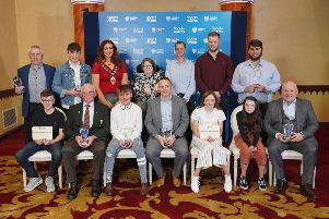 Proud trophy recipients with the Mayor,  Cllr Lindsay Millar,  at the Mid and East Antrim Borough Council Sports Awards.