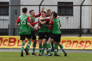 Glentoran celebrate their opener