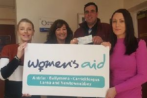 Big hearted councillor, Alderman Stewart McDonald has donated a very generous �500 to Women's Aid ABCLN, the proceeds of his Big Breakfast held in Ahogill Community Centre just before Christmas. Pictured with Jayne Moore, Karen McConkey and Sarah Doherty from Women's Aid ABCLN.