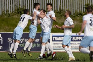 Johnathan McMurray celebrates after scoring the equaliser. Mandatory Credit �INPHO/Stephen Hamilton