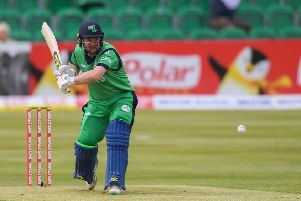 Paul Stirling of Ireland plays a shot during the One Day International match between Ireland and Bangladesh at Clontarf Cricket Club, Dublin