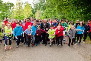 And they're off... Mayor of Antrim and Newtownabbey Alderman John joins over 1,000 local nursery, Year 6, 7, and 8 pupils from schools across Antrim and Randalstown at Antrim Castle Gardens for the One Mile Challenge.