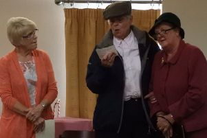 Pictured taking part in a sketch at Muckamore WI Drama Group's evening of Light Entertainment to raise funds for the  Air Ambulance'Northern Ireland charity are Elizabeth Gray, Ruth Wilson and Joan Gray. Over 200 guests attended the event.