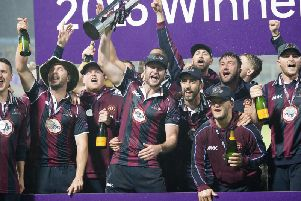 Alex Wakely lifts the T20 trophy at Edgbaston in 2016