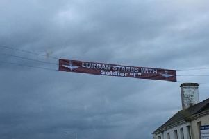 The banner appeared on Lurgan High Street.