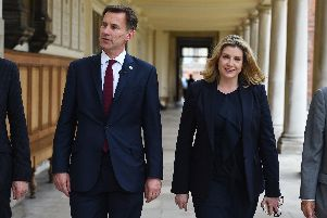 Conservative party leadership candidate Jeremy Hunt touring the Royal Hospital Chelsea, in London, accompanied by defence secretary, Penny Mordaunt. It comes after a meting with Portsmouth-based armed forces group, All Call Signs. Photo: Kirsty O'Connor/PA Wire
