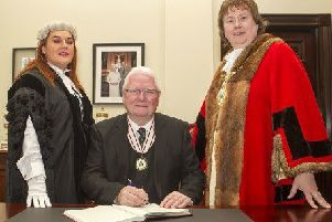 Chief Executive Mrs Anne Donaghy pictured with Mr James Perry, the new Deputy Lieutenant for County Antrim and the Mayor of Mid and East Antrim, Councillor Maureen Morrow.