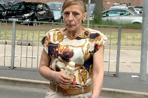 Caption: Sharon Randall, 52, of Waterloo Street, Portsmouth, appeared at Portsmouth Magistrates Court and admitted stealing a charity tin, meats and drink