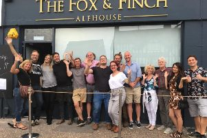 Owners Mike and Jo Saveen with business owners outside The Fox & Finch Alehouse on Wednesday (July 17)