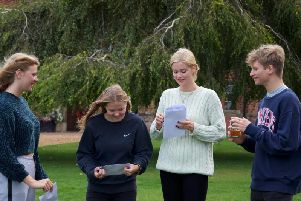 Students opening their results at Ardingly College