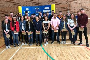 A Level students at St Louis Grammar School, who achieved their results this week.