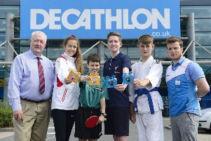 Pictured receiving their awards with the Chairman of Sport Lisburn & Castlereagh, Jimmy Walker and Decathlon Belfast, Marketing and Event Manager, Matt Ferguson are; Emily McManus from Lisburn Taekwondo Club who picked up two Gold medals at the British Taekwondo competition in London, Daniel McFaul from Lisburn Rapid Table Tennis Club who won the U11 Irish National Table Tennis Championship, James Nicholson from Carryduff Taekwondo Club who achieved a staggering 5 golds and 3 silvers at the Aquilla Open Taekwondo competition in London and Quinn Armstrong from the Judo Academy who won gold at the Galway Open Judo Championship